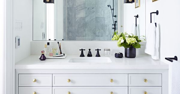 Beautiful all white bathroom design with chevron floor for All white bathroom designs