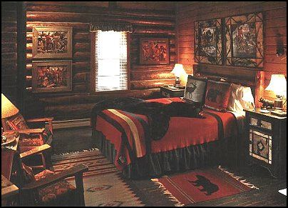 Cabin Scene With A Country Lodge Feel Cabin Bedroom Decor Log Cabin Bedrooms Cabin Bedroom