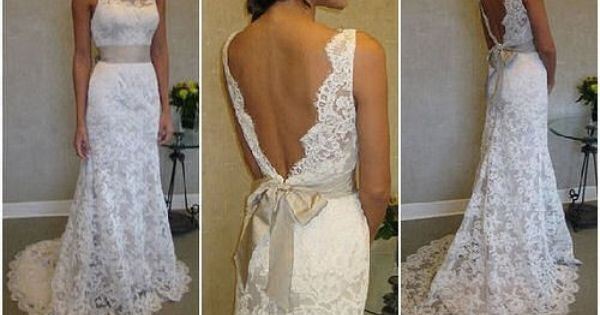 lace wedding dress with open back- really like the back of the