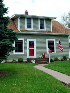 Exterior Makeover On Pinterest Brown Roofs Concrete Porch And Exterior Paint Colors For House Brown Roofs Paint Colors For Home