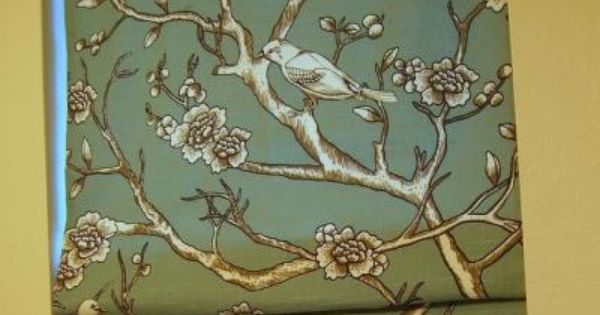 Roman Shade With Natural Toile Design Incorporates Modern
