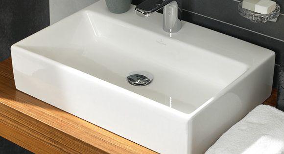 villeroy boch memento aufsatzwaschtisch wei mit ceramicplus 1 hahnloch mit berlauf. Black Bedroom Furniture Sets. Home Design Ideas