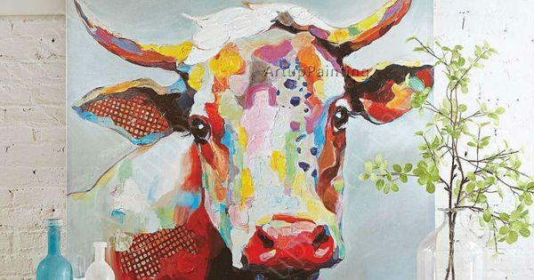 vache peinture l 39 huile sur le mur de toile animaux peintures pour mur du salon art toile. Black Bedroom Furniture Sets. Home Design Ideas