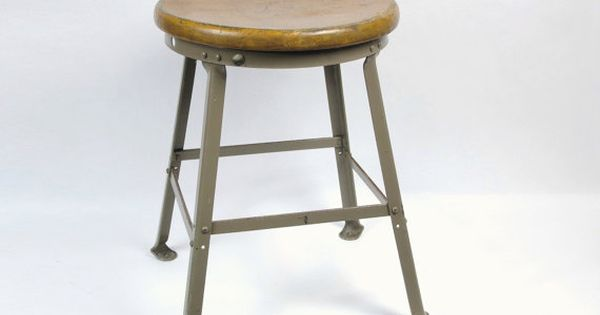 Vintage Metal Amp Wood Industrial Shop Stool Short