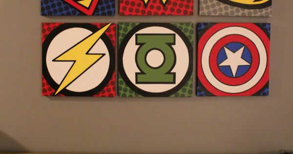 Superhero wall art. Good for a little boys room or game room