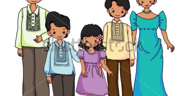 Filipinos Family In Filipinos Traditional Costume Stock Photo Family Cartoon Filipino Culture Family Clipart