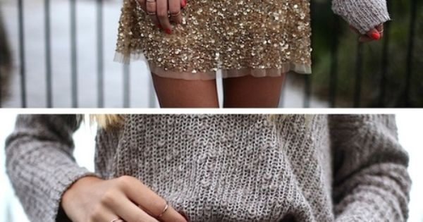 chunky knit + sparkly skirt. belted. - You know I have a