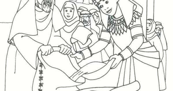 Joseph distributing grain Genesis 41 Coloring Bible