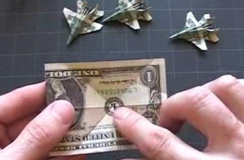 Dollar Origami F-18: Steps 1-4. NICE!!!!