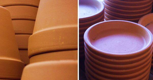 Macetas y platos de barro tradicional jardineras y - Tiestos de barro ...