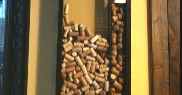 wine cork display frame with a hole at the top. also could