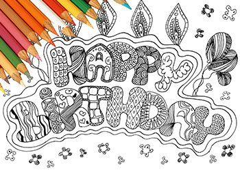 Buon Compleanno Biglietto Da Colorare Stampabile Happy Birthday