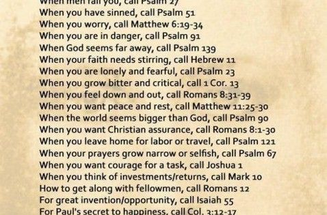 Bible Emergency Numbers... good to know !!