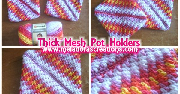 Crochet Stitch Quick Reference : Thick Mesh Pot Holders - Free Crochet Pattern - Meladoras Creations ...