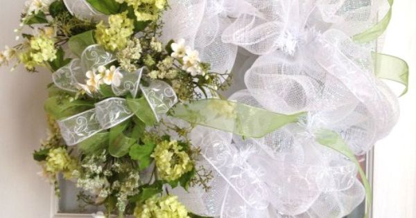 Mesh Wreath Wedding Wreath Moss Green White