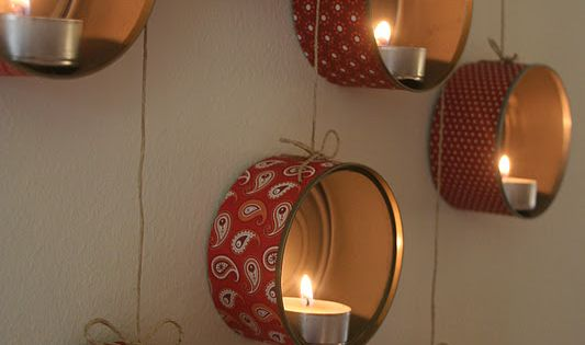DIY Candle Holders: these were created from tea lights, tuna cans and