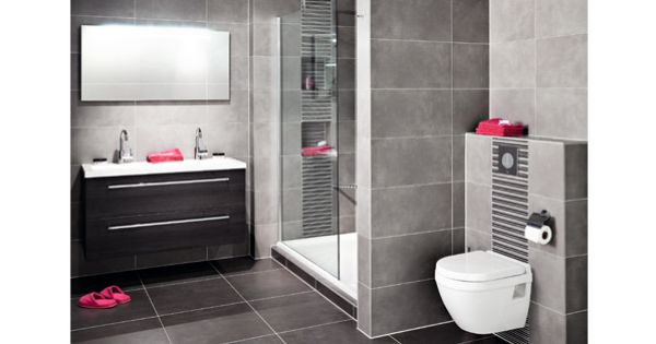 Mooie grijze tegel met klein accent achter douche en toilet badkamer pinterest bathroom - Badkamer lay outs met douche ...