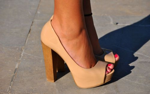 Nude stacked heels... perfect for my wedding guest dress
