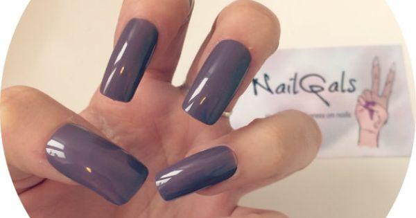 Mauve long square nails - hand painted - press on nails ...