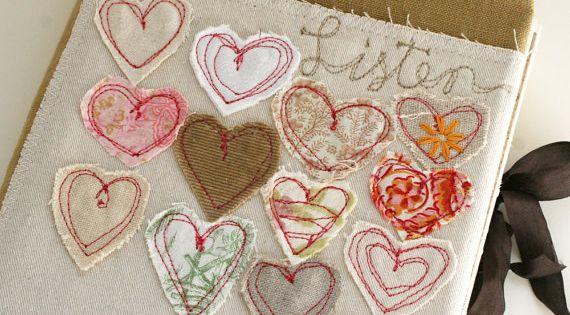 Art quilt journal listen embroidery hearts stitches