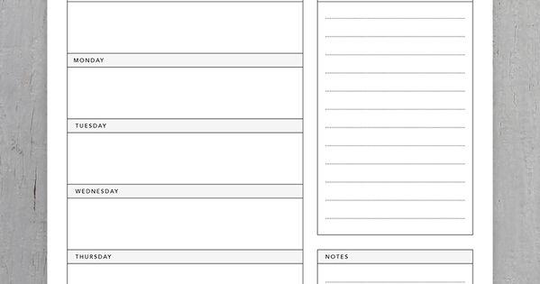 Minimalist Classroom Worksheets : Minimalist weekly planner printable