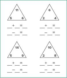 Math Worksheet Generator Fact Family Worksheet Triangle Worksheet Subtraction Facts