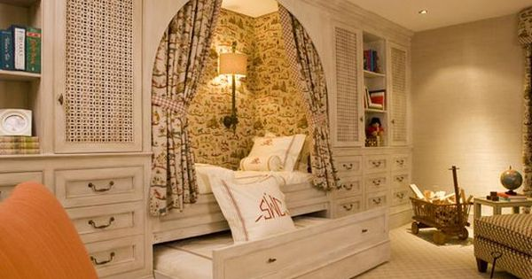Great guest room (or child's room). Love the fabric used for the