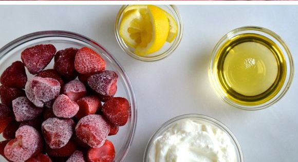 5-Minute Healthy Strawberry Frozen Yogurt Recipe. I bet you can replace the