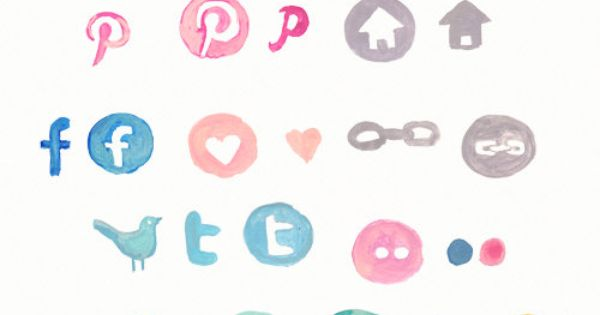 Loving the look of this hand painted social icon set! Hand painted