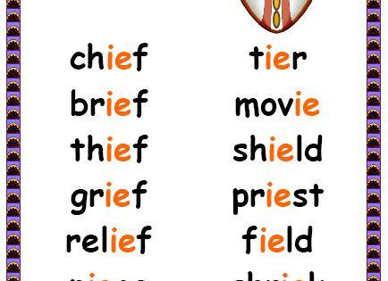 Ie Words Phonics Words Phonics Posters English Phonics