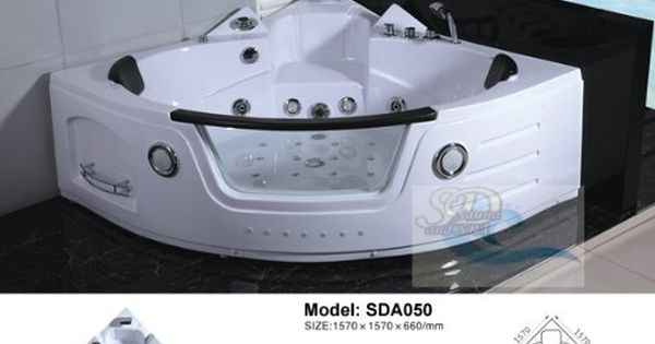 2 Person Bathtub White Corner Unit Jetted Whirlpool 29