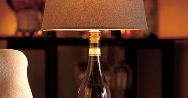 Turn a wine bottle into a unique accent light with this for Wine cork lampshade