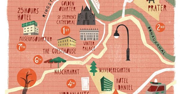 Map of Vienna, Austria (ringstrasses was built to protect the emperor from