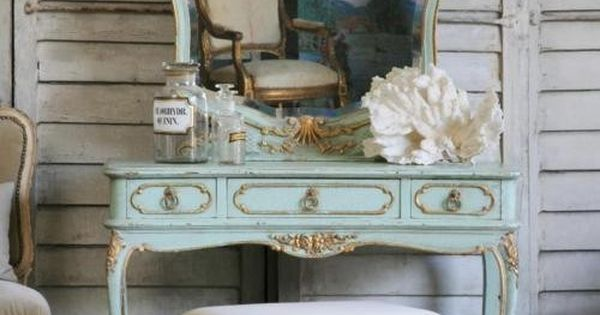 Perfectly aged, beautifully hued vintage vanity table and mirror. shabby chic country