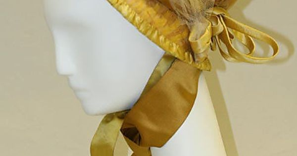 Bonnet Date: 1800–1810 Culture: American Medium: straw, silk Dimensions: Length: 10 1/2