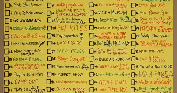 100 Things to do over the summer. I love the simplest things-