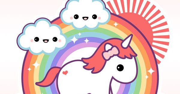Kawaii Unicorn With Rainbow