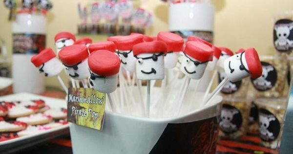 Pirate marshmallow pops for boys and dads too:)