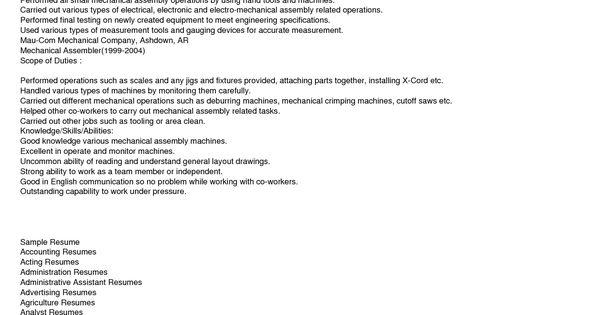 mechanical assembler resume examples