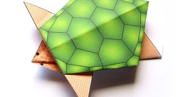 Un tr s joli mod le de tortue en origami colorier en - Tortue a colorier ...