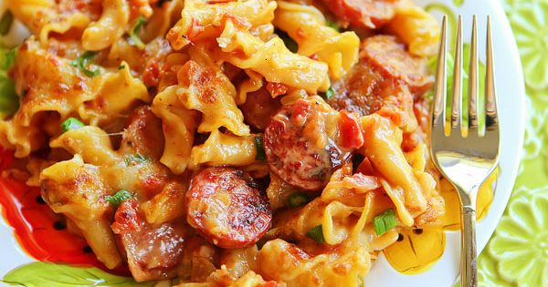Spicy Sausage Pasta- Very yummy! Used turkey smoked sausage and probably added
