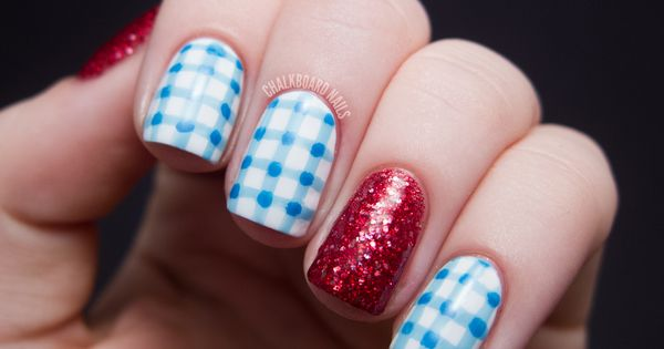 Dorothy from 'The Wizard of Oz.' nail art. The gingham was made