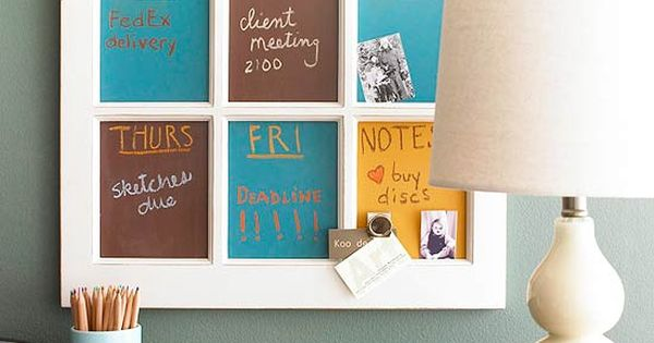 idea for old window panes: chalkboard paint