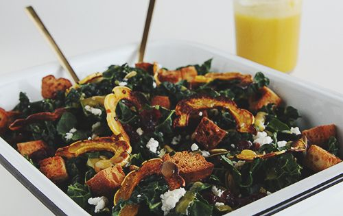 This is a hearty fall salad laced with flavor. Allow the kale to marinate in the dressing for additional flavor. Serve as the main course or as a side. If kale