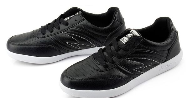 Mens #black casual leather lace up #sneakers sport shoes, cushioning function, high resistance to wear, breathable, leather upper and mesh lining. | See more about Sneakers, Mesh and Sports.