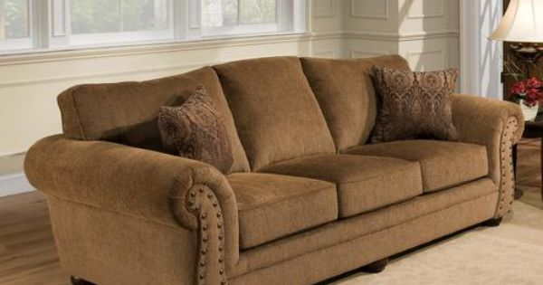 Simmons Upholstery Troy Bronze Chenille Sofa At Menards