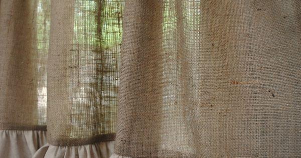 Burlap Ruffled Cafe Curtain | Kitchens, Window and Ruffles