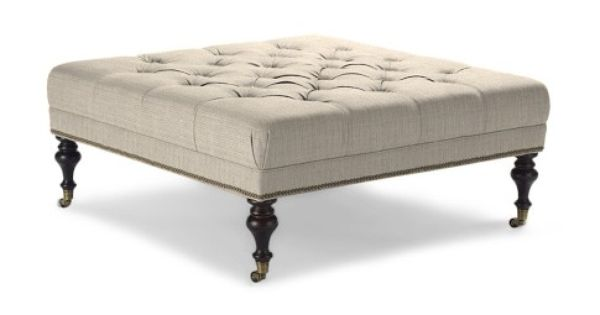 Fairfax Square Ottoman With Turned Leg Tufted 42 Inch