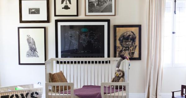 floating crib + gallery+ light fixture | Estee Stanley nursery. throw in