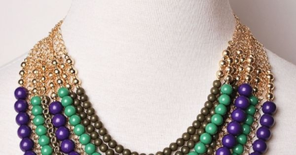 Emerald + plum statement necklace. Mardi Gras colors!